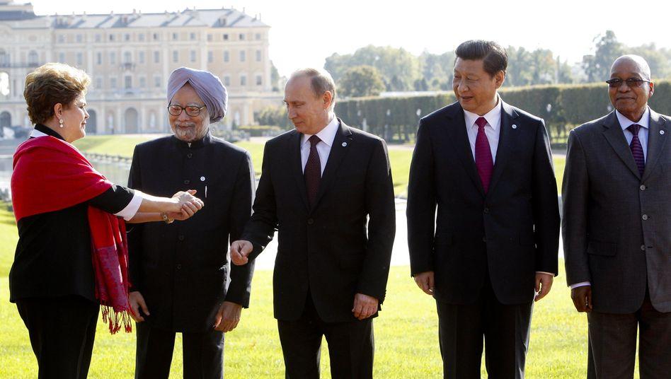 Staatschefs auf dem G20-Gipfel: Dilma Rousseff (Brasilien), Manmohan Singh (Indien), Vladimir Putin (Russland), Xi Jinping (China) und Jacob Zuma (Südafrika)