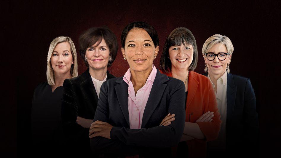 Topfrauen der deutschen Wirtschaft (v. l. n. r.): Stephanie Caspar, Nicola Leibinger-Kammüller, Janina Kugel, Martina Hund-Mejean und Maria Moraeus Hanssen.