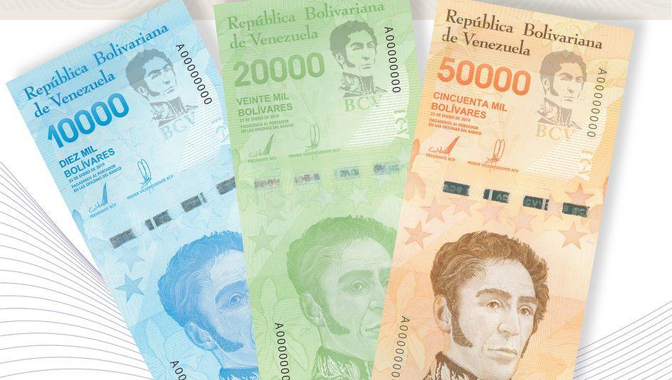 Das sind die neuen Banknoten in Venezuela: Das Land leidet unter einer heftigen Wirtschafts- und Finanzkrise - allein im vergangenen Jahr lag die Inflation laut IWF bei 1,37 Millionen Prozent