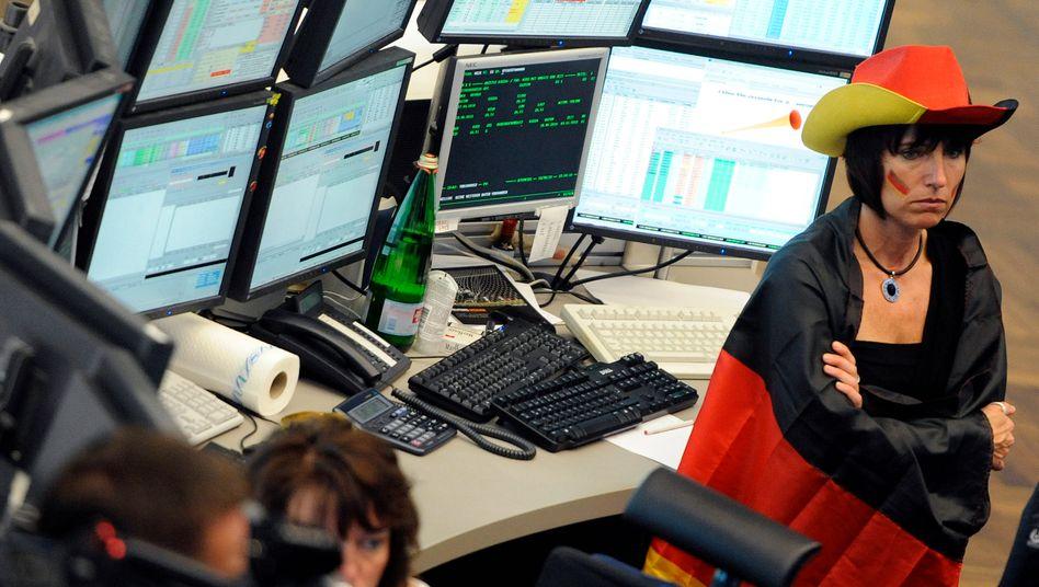 Börse in Frankfurt: Das Spiel der deutschen Mannschaft bereitet derzeit mehr Freude als die Entwicklung der Kurse