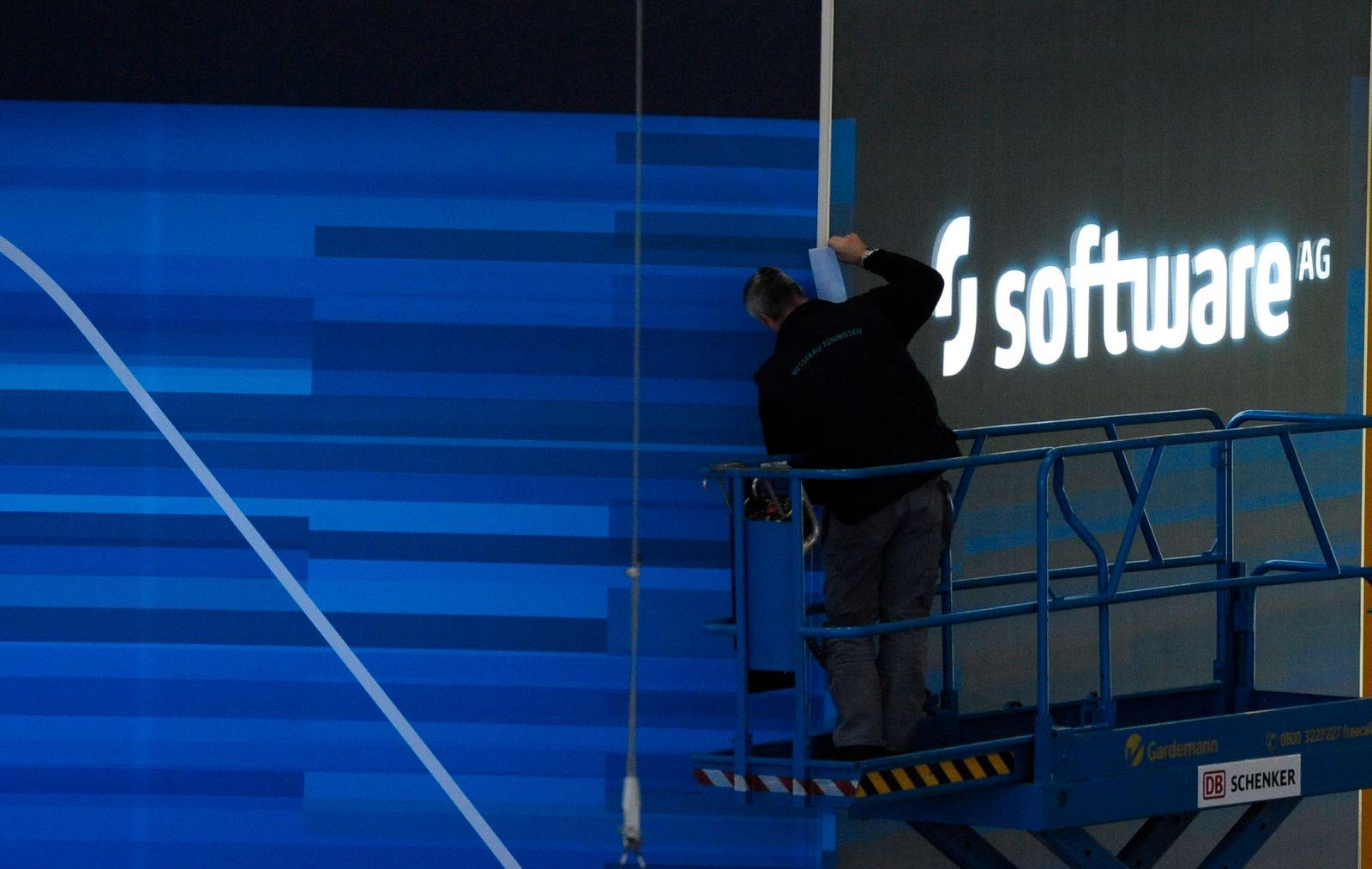 NICHT VERWENDEN Logo / Leuchtschild der Software AG auf der CeBIT 2009