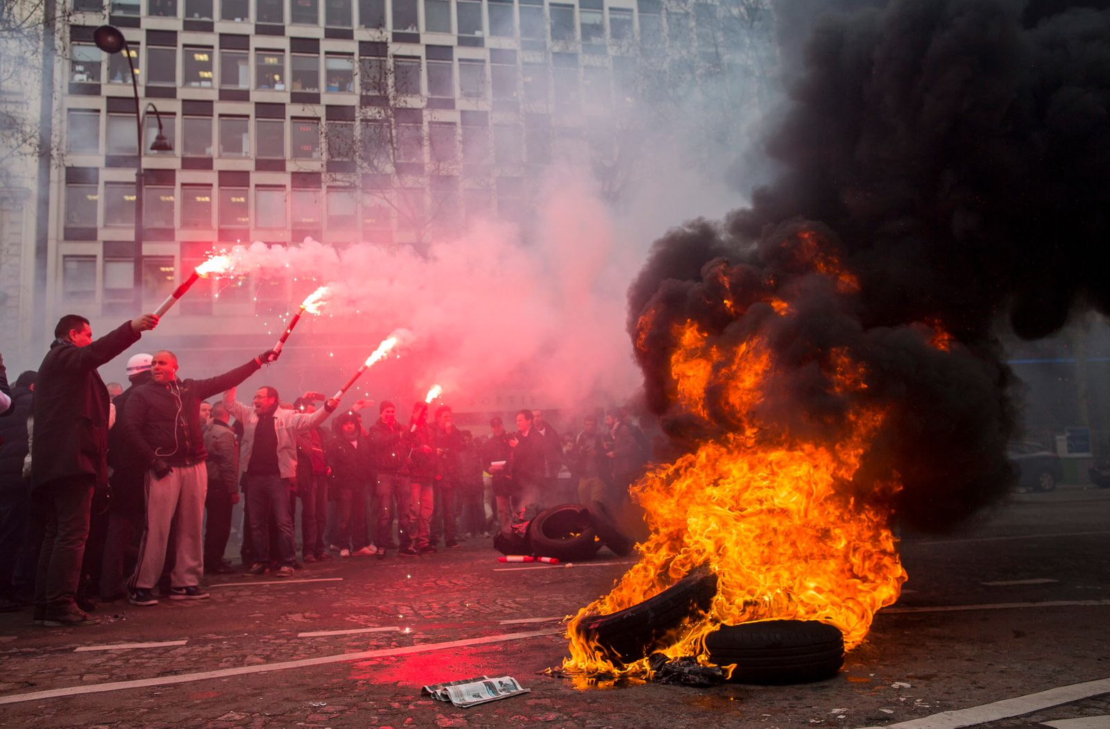 Peugeot workers protest in Paris