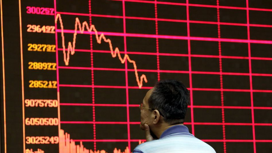 Absturz: In Shanghai verlor der CSI Index am Montag rund 7 Prozent an Wert. Der Dax baute daraufhin seine Verluste aus - die Hälfte der Vorjahresgewinne wurden binnen Stunden nahezu ausradiert