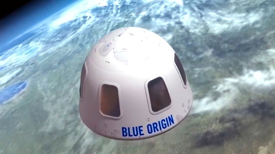 Über der Erde schweben: Das soll ein unbekannter Auktionsbieter gemeinsam mit Jeff Bezos und seinem Bruder in einer Kapsel von Bezos Weltraumunternehmen Blue Origin bereits im Juli (Illustration von Blue Origin)