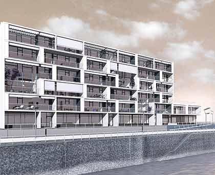 Wasserwelten: Am Rhein in Köln und an der Elbe in Hamburgs Hafencity errichtet Stararchitekt Hadi Teherani Bauten seines Home4-Projekts - variable Module mit stilsicheren Einrichtungen