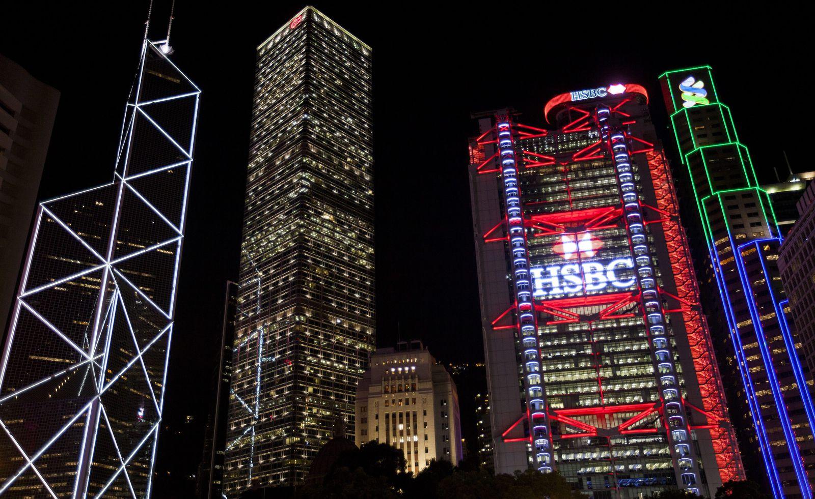 HBSC bank logo lights up Hong Kong skyline