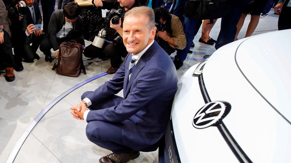 Herbert Diess bei der Präsentation des VW ID.3 auf der IAA im September 2019