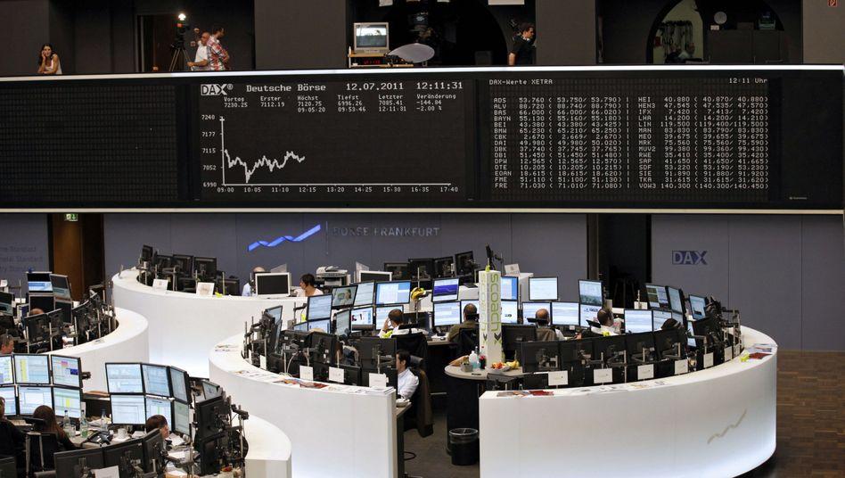 Börse in Frankfurt: Die Stimmung ist gut, obwohl im US-Schuldenstreit in der Nacht wieder keine Einigung erzielt wurde