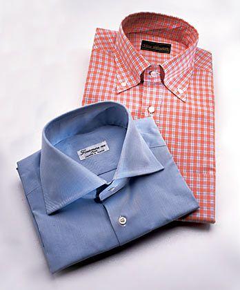 Formenlehre: Hemden mit Haifischkragen (unten) passen nicht zum runden Gesicht, Hemden mit Button-down-Kragen gehören nur unters Sportsakko.