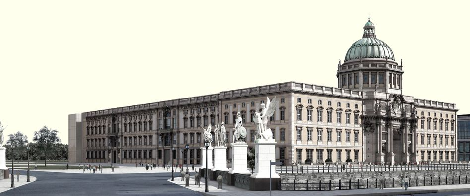 Geplantes Berliner Schloss: Die Computergrafik zeigt eine Nordwest-Ansicht, das Humboldt-Forum mit der Schlossbrücke im Vordergrund