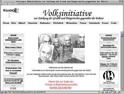 Stein des Anstoßes: www.brandenburg.de, bis vor kurzem von linken Kritikern besetzt