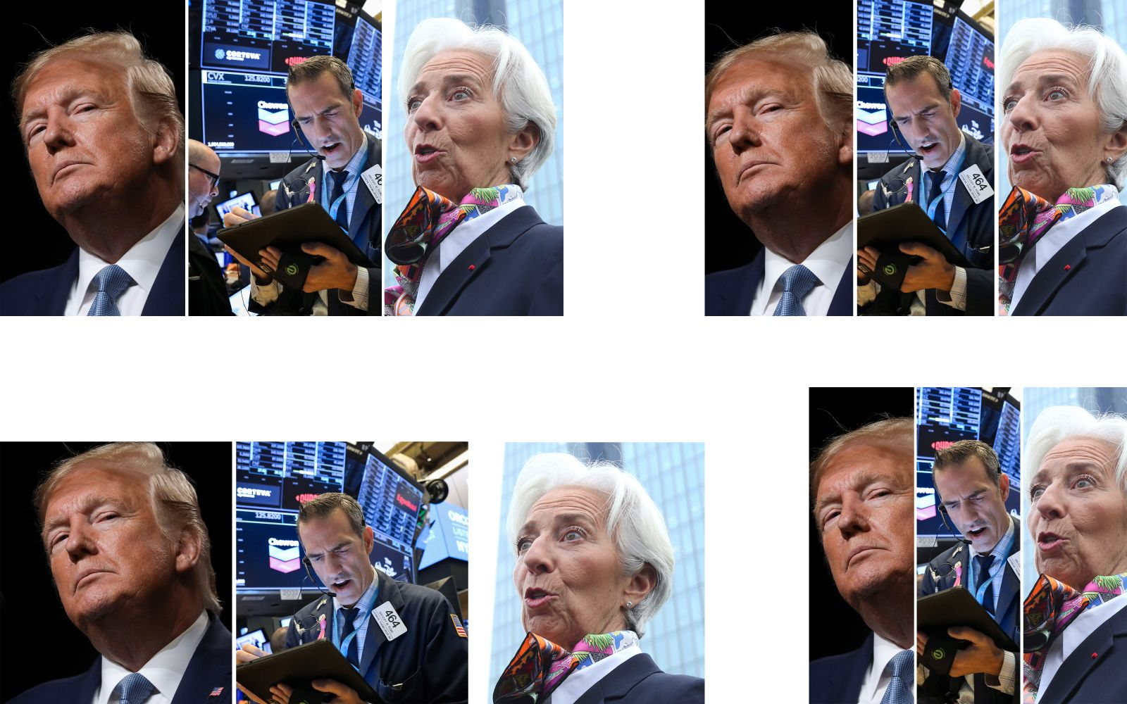 KOMBO Donald Trump / New York Stock Exchange / Christine Lagarde