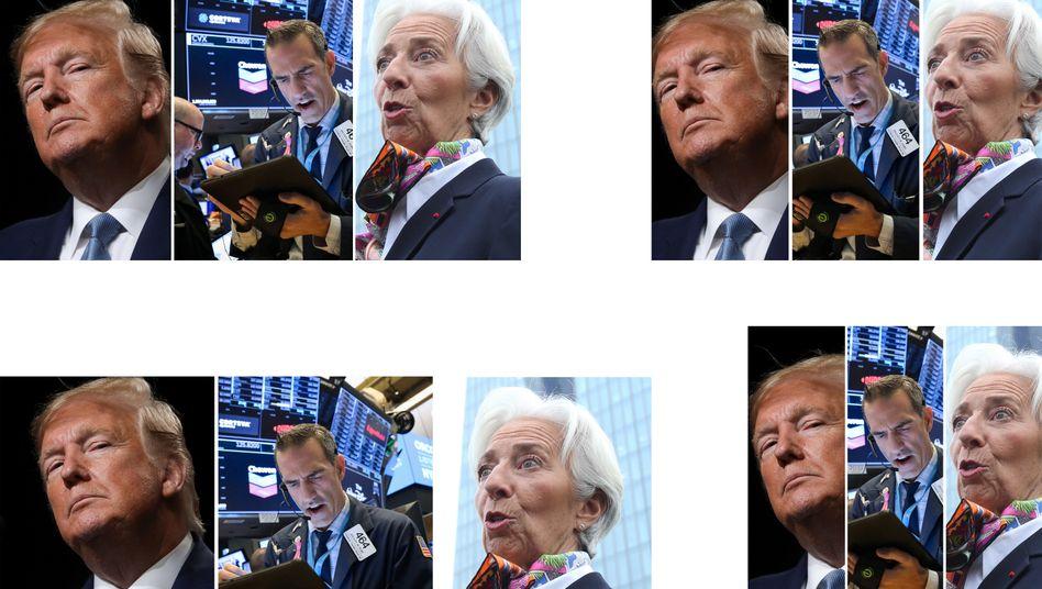 Donald Trump (l.), ein Börsenhändler in New York sowie Christine Lagarde: Das Jahr 2019 hielt für Anleger einige Erkenntnisse bereit.
