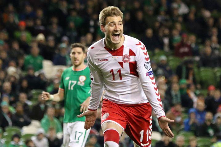 Dänemarks Stürmer Nicklas Bendtner (nicht in Russland dabei) nach dem Sieg im Qualifikations-Playoff gegen Irland
