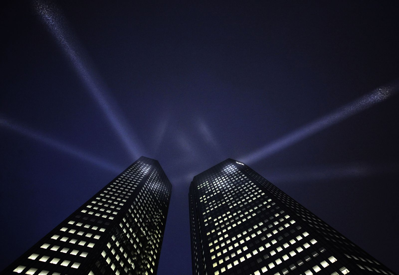 The headquarters Deutsche Bank is spotlighted during a ceremony in Frankfurt