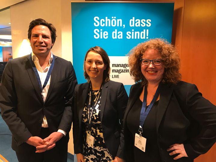 Sven Clausen, Christina Reuter und Maren Hoffmann (von links) bei der Female Leadership Conference f.con in Hamburg