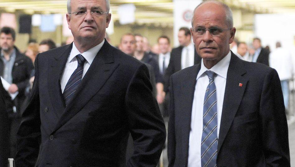 Von seinen Gnaden: VW-Chef Martin Winterkorn (links) und der langjährige IG-Metall-Chef Berthold Huber