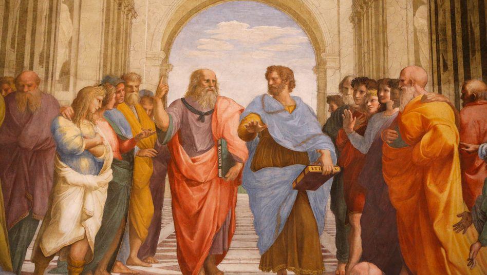 Rhetorik in der Antike: Platon, verkörpert durch Leonardo da Vinci, und Aristoteles