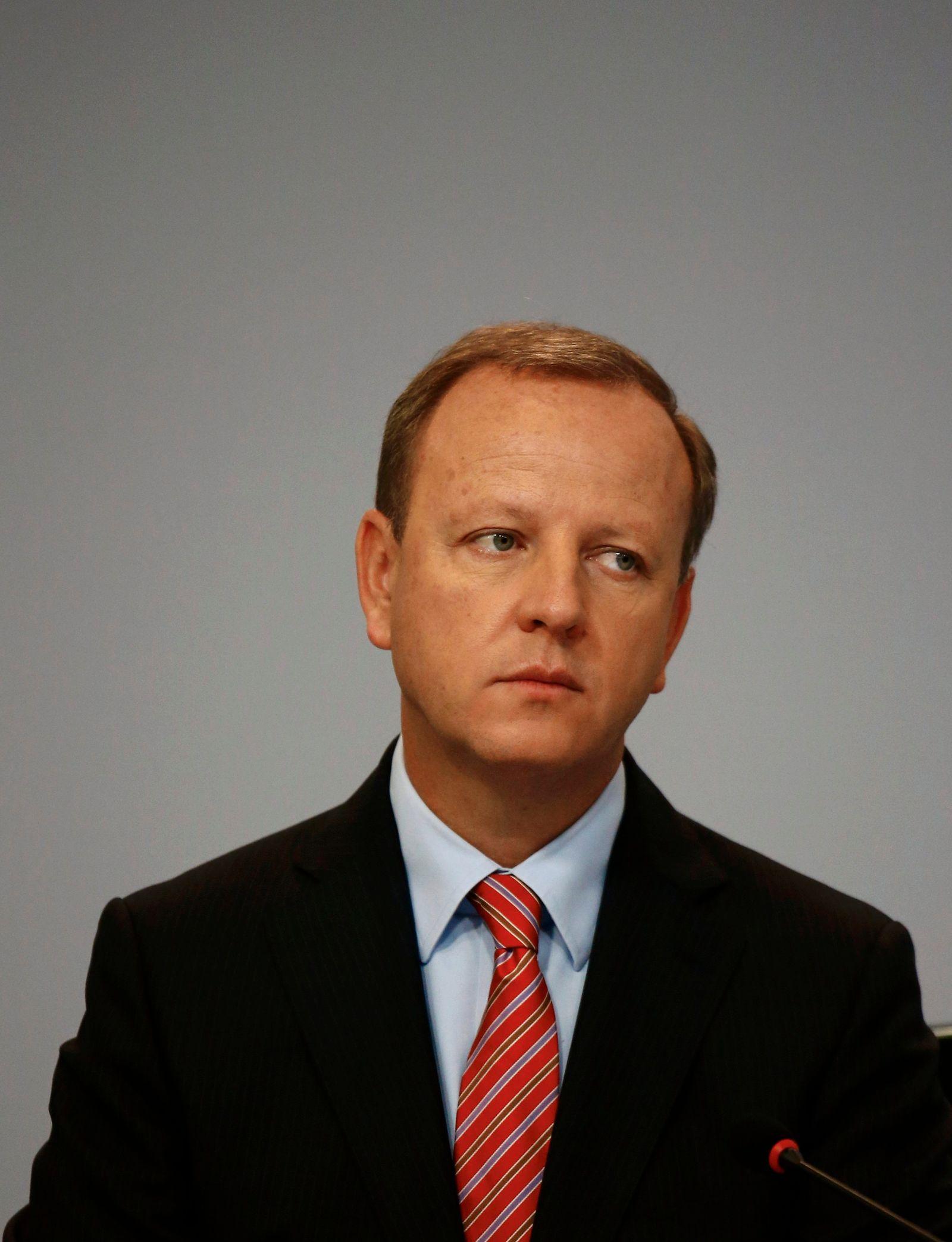 Krause, CFO of Deutsche Bank, attends a news conference in Frankfurt