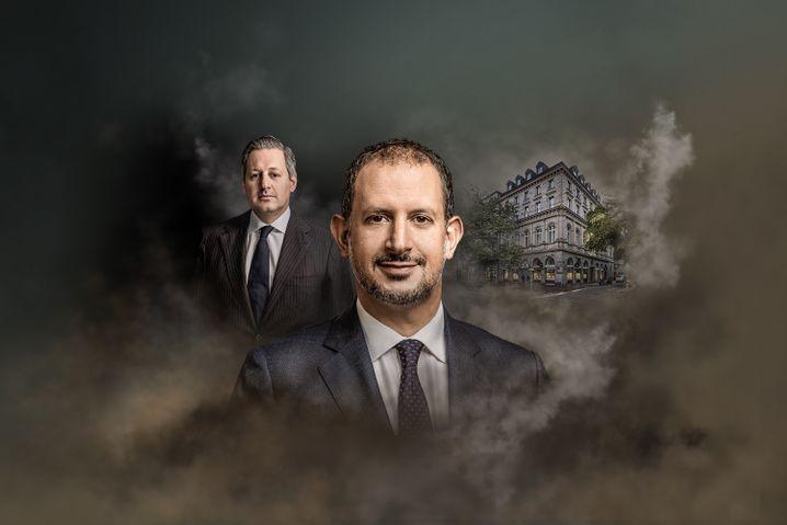 Auf Pump: Collardi (l.) blähte die Züricher Privatbank auf - Rickenbacher muss die Luft kontrolliert ablassen.