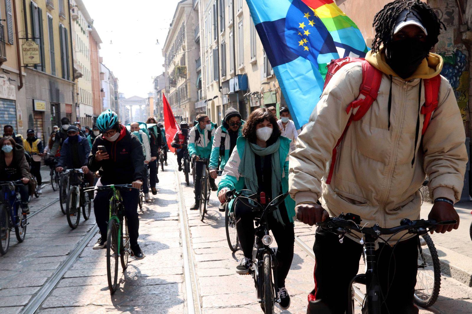 foto ipp clemente marmorino milano 18 03 2021- no delivery day - sciopero manifestazione corteo sciopero dei riders - gl