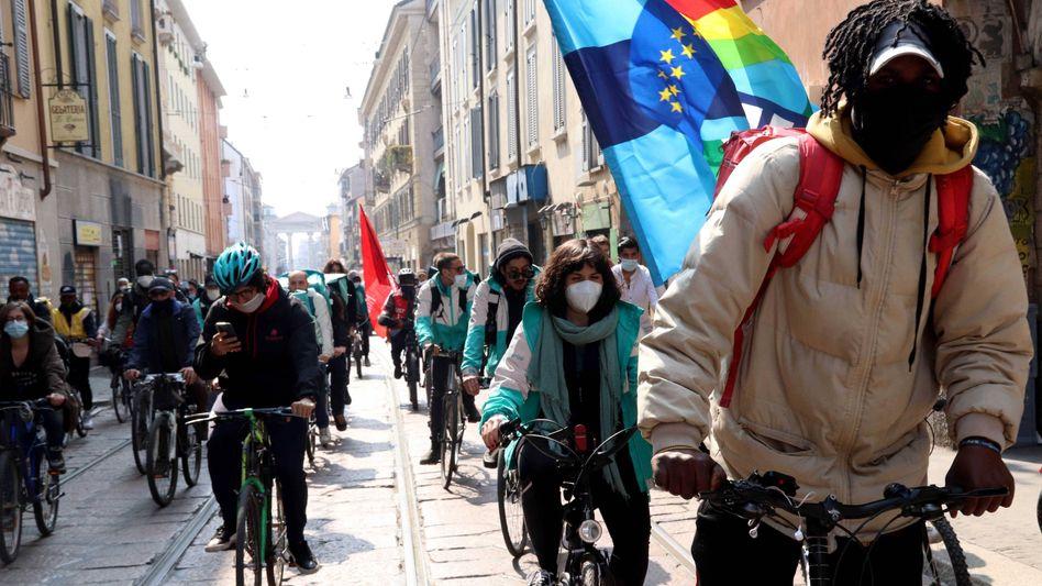 No Delivery Day: Demonstration von Deliveroo-Kurieren in Mailand Mitte März
