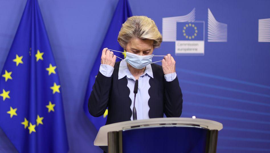 405 Millionen Dosen Impfstoff von Curevac gesichert: EU-Kommissionspräsidentin von der Leyen am Montag in Brüssel