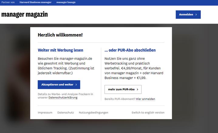 Ihre Optionen: Stimmen Sie Werbung und Tracking zu (links) oder entscheiden Sie sich für das PUR-Abo (rechts)