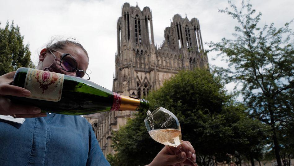 """Eine Kellnerin schenkt in Reims ein Glas Champagner ein: """"Außergewöhnlich"""" gute Ernte erwartet"""