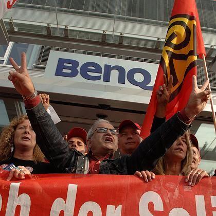 Proteste gegen den Ex-Arbeitgeber: Mitarbeiter der BenQ-Handysparte demonstrierten in Kamp-Lintfort