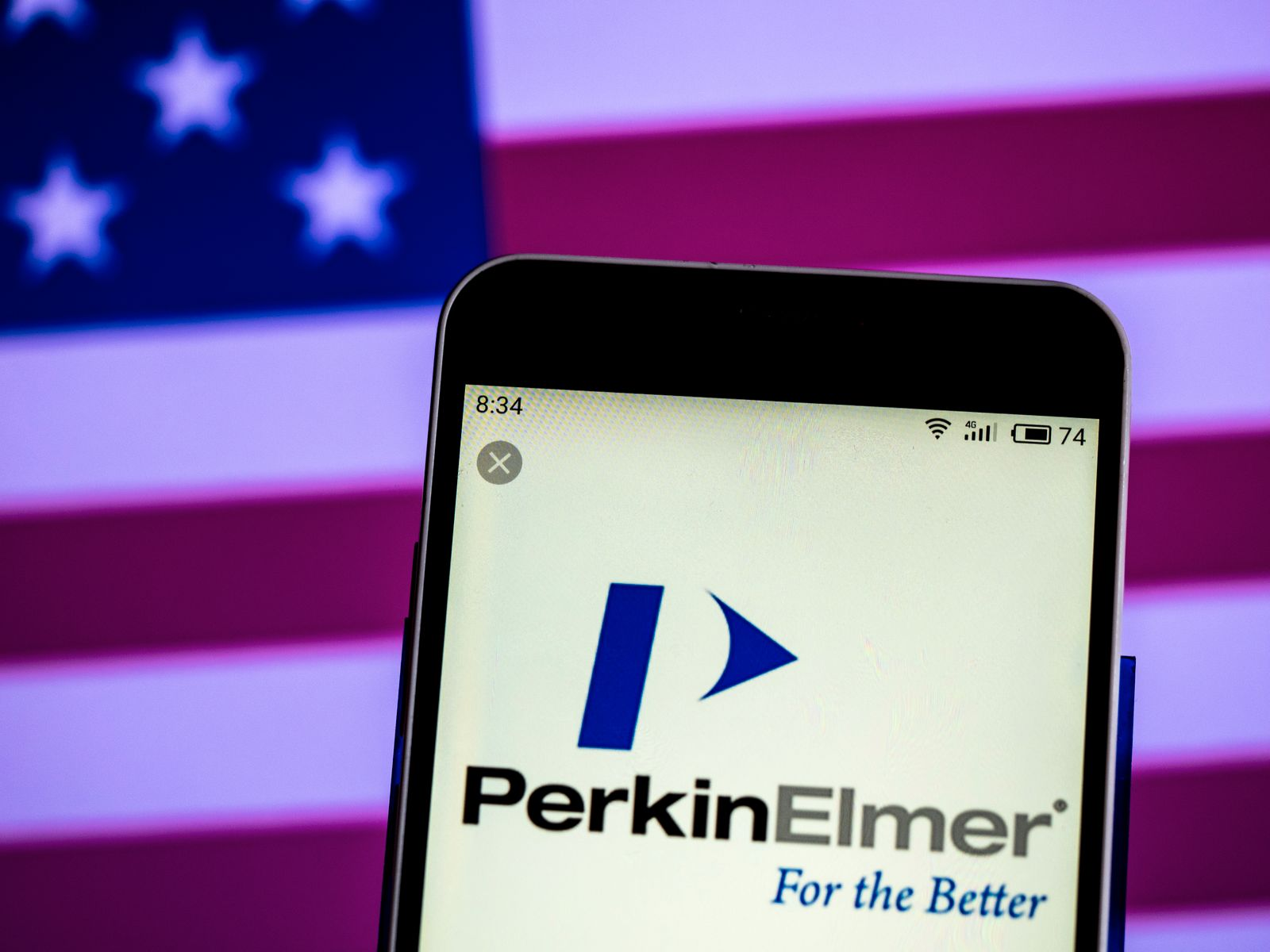 PerkinElmer, Inc. logo seen displayed on a smart phone
