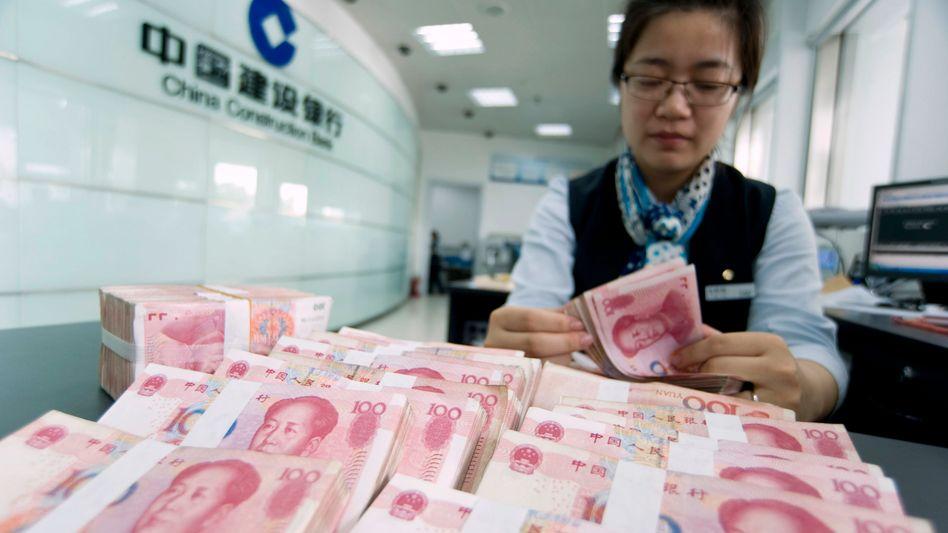 China Construction Bank in Haian: Die fünf größten Banken des Landes sollen das Geld der Notenbank an Unternehmen weiterreichen