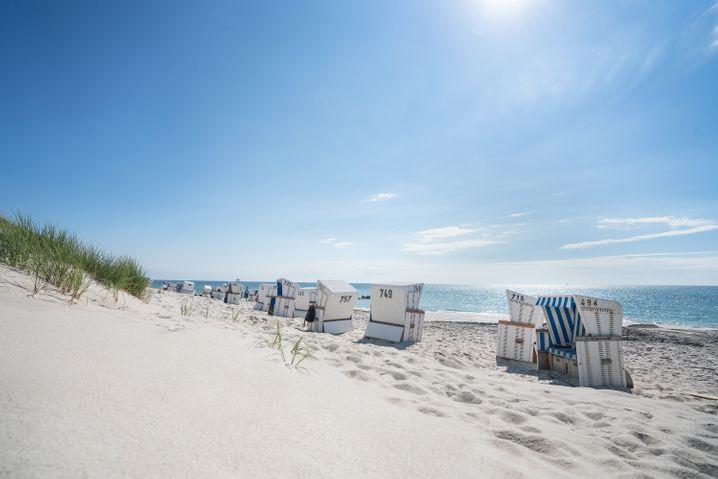 Ausblick aufs Meer: Strandkoörbe am Hörnumer Weststrand auf Sylt.