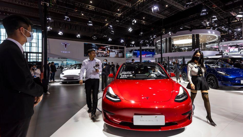 """""""Respekt vor chinesischen Verbrauchern"""": Der Ort des Geschehens, der Tesla-Stand auf der Automesse in Shanghai"""