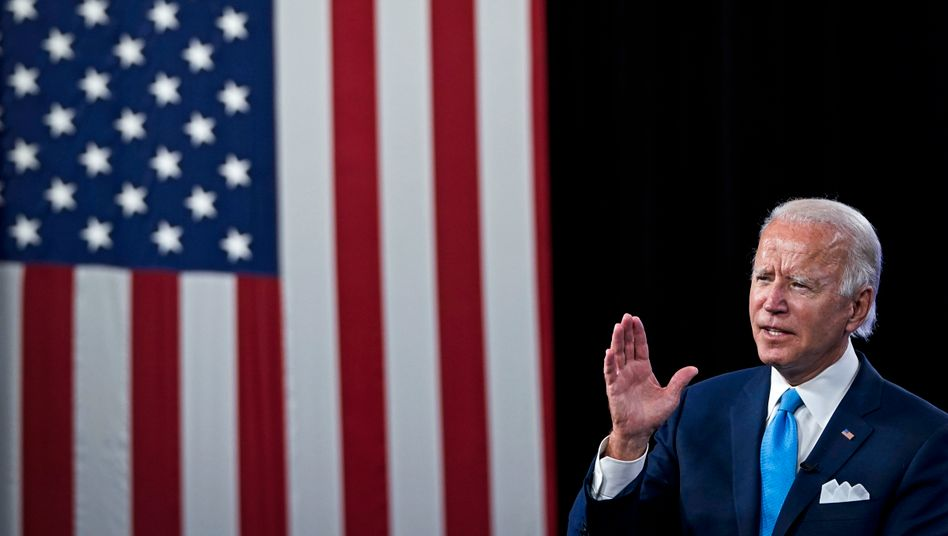 """""""Trade for our workers"""": Präsidentschaftskandidat Joe Biden während des virtuellen Parteitags der Demokraten in Delaware"""