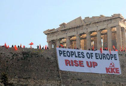 """Demonstranten am Athener Parthenon: """"Die Lage wird immer vulgärer"""""""