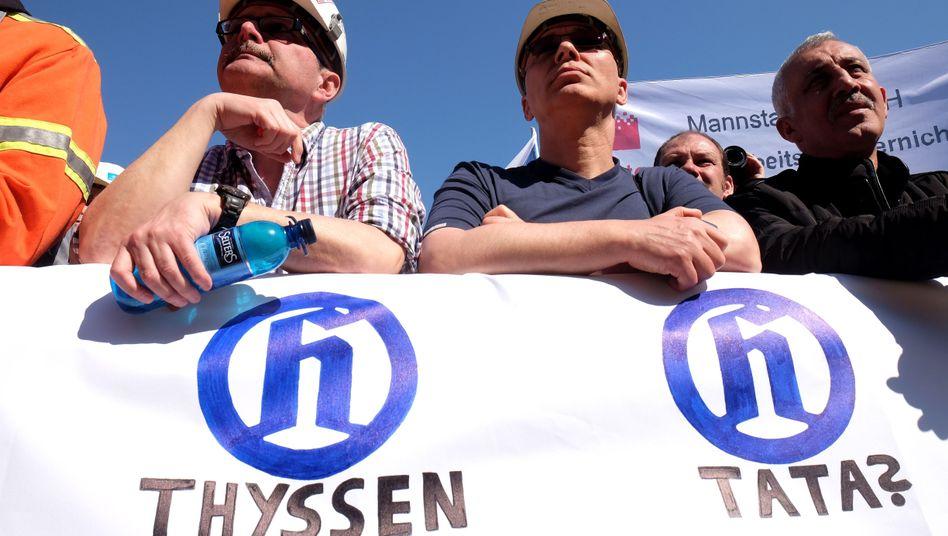 Proteste gegen die geplante Fusion: Stahlarbeiter von Thyssenkrupp
