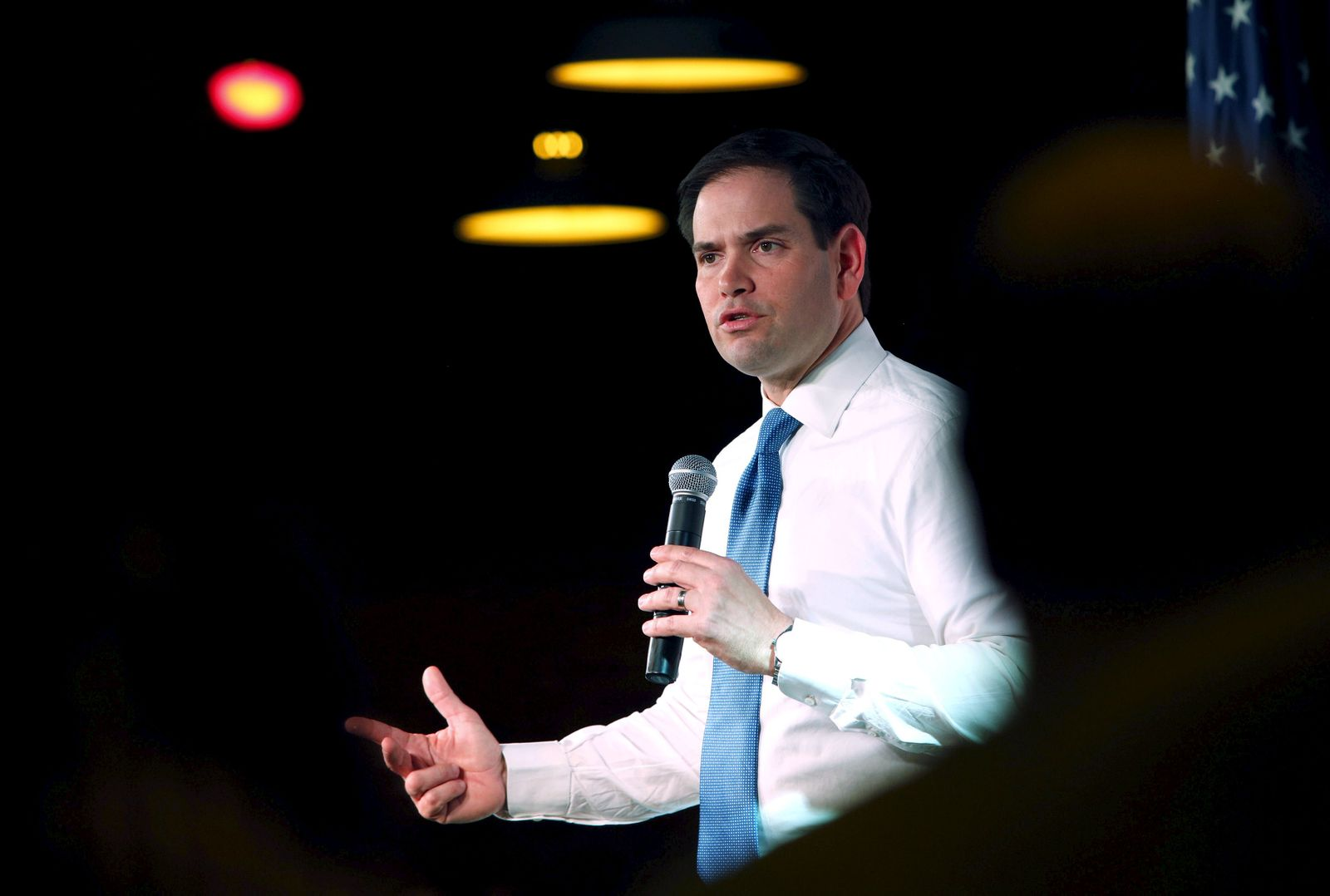 Republican presidential candidate Senator Marco Rubio (R-Fla.) speaks during a campaign event at the Maintenance Shop at Iowa State University in Ames