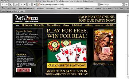 Screenshot Partypoker.com: Hauptumsatz mit Online-Poker in den USA