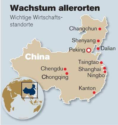 Wachstum allerorten: Wichtige Wirtschaftsstandorte in China