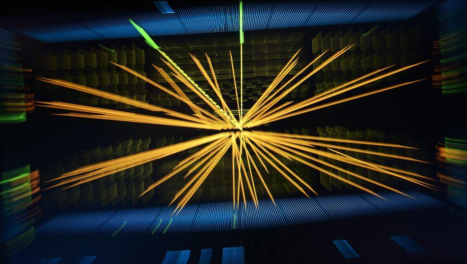 """Kleinteilige Schönheit: So sieht eines der Millionen """"Events"""" aus, das der Teilchen-Detektor """"Atlas"""" verfolgt und dokumentiert. Laien sollen nun sichten helfen."""