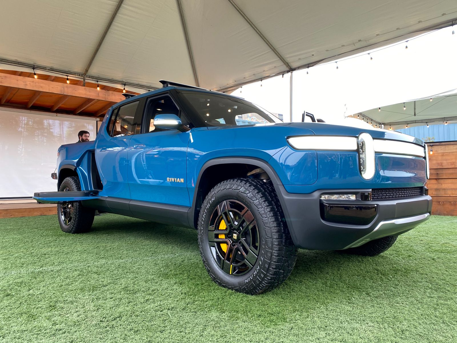 FILE PHOTO: Electric vehicle startup Rivian shows off its SUV truck in Mill Valley