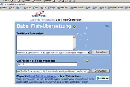 Die klassische Variante: Babelfish übersetzt und unterhält