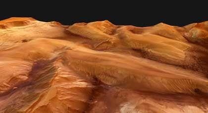 """Hügeliger Mars: Die Aufnahmen der HRSC-Kamera von """"Mars Express"""" erreichen eine Auflösung von 36 Metern je Bildpunkt"""
