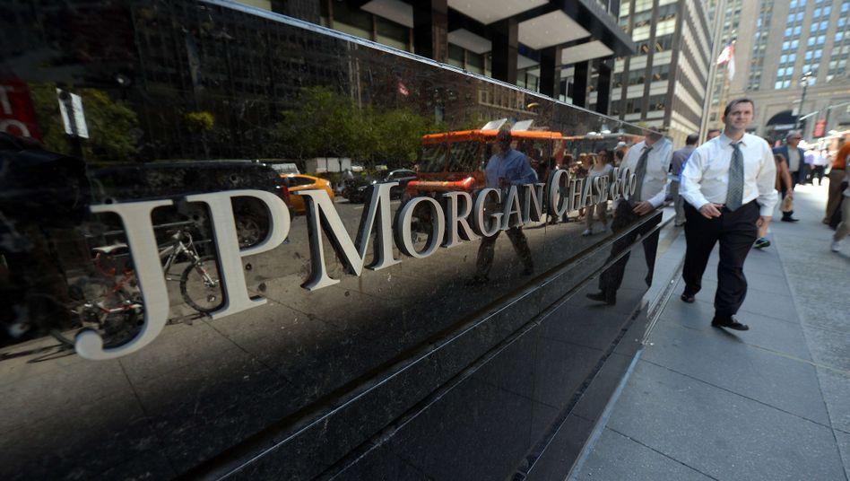 Top-Bank JP Morgan in New York: US-Banken sind an der Börse höher bewertet als europäische.