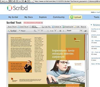 """Digitale Dokumente: """"Scribd"""" zeigt sie, als lägen sie auf dem eigenen Computer"""
