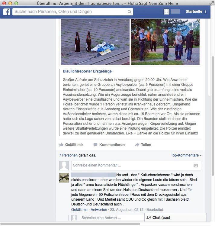 NUR ALS ZITAT Screenshot Facebook Hetze gegen Flüchtlinge