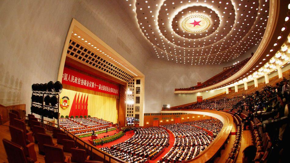 Große Bühne: In der Großen Halle des Volkes in Peking werden 3000 Delegierte ab Samstag tagen - und dann den Fünf-Jahres-Plan der Partei verabschieden