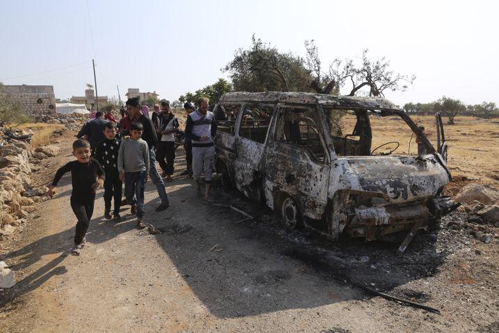 Auch dieses Fahrzeug wurde bei dem Einsatz gegen Baghdadi zerstört
