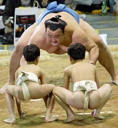 Eindeutige Hierarchie: Sumo-Ringer mit Novizen